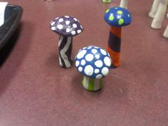 Hand Molded and Painted Psychedelic Mushrooms