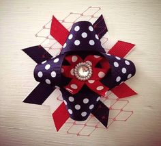 Red, White, Blue Hair bow. 4th of July, Memorial, Labor Day Hair bow. Ribbon, netting, jewel center on Etsy, $5.00