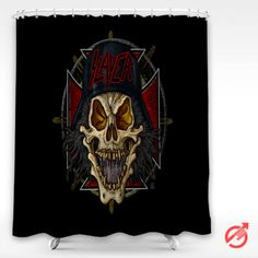 Cheap Music Slayer band heavy logo metal music skull thrash Shower Curtain