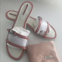 """VINTAGE PRADA SHOES SIZE 9.  Original Prada shoes made in Italia I purchased for me and I don't like the color on me. The color is dark like Salmon super comfortable 1"""" heels. No box only Original dust bag. Prada Shoes Heels"""