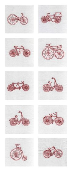 Cute Line drawing vintage bicycle embroidery files.