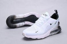 Nike Air Max 270 White Black Spectrum Men's Women's Running Shoes - Nike shoes air max - Best Shoes World White Nike Shoes, Nike Air Shoes, Black Shoes, Shoes Jordans, Sneakers Nike, Nike Socks, Nike Tennis Shoes, Running Sneakers, Sports Shoes