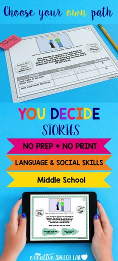 Students feel empowered as they choose their own path while SLPs enjoy this no-prep way to target a wide range of language & social skills!