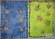 - Fond réalisé à l'encre- Découpage de carrés et triangles dans du papier kraft puis collage- Transformer les formes géométriques en bonhommes au feutre noi...