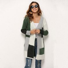 Vogueher Knit Mixed Colors Long-sleeved Jacket #Jacket #Vogueher Color Mixing, Sleeve Styles, Duster Coat, Jackets For Women, Knitting, Colors, Casual, Sleeves, Shopping