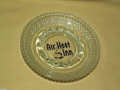 AIR HOST INN ASHTRAY HOBNAIL CLEAR GLASS ATLANTA GEORGIA GA AIRPORT BEADED VINTG