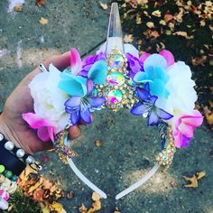 Unicorn Crown Flower Crown LED Light Up halloween unicorn costume birthday crown children's costume rave wear www.etsy.com/shop/thelytecouture