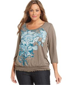 Style Plus Size Top, Three-Quarter-Sleeve Printed - Plus Size Tops - Plus Sizes - Macy's