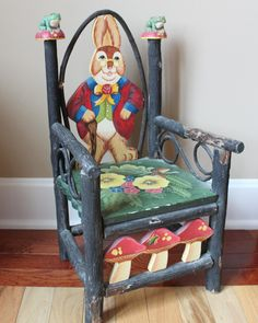 Your place to buy and sell all things handmade Vintage Furniture, Painted Furniture, Bunny Painting, Bent Wood, Garden Theme, Peter Rabbit, Kids Room, Armchair, Hand Painted