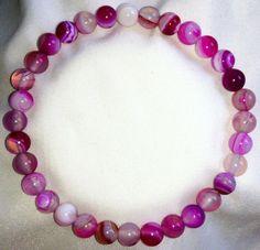 Rosa Streifen Achat Onyx Heilstein Perlen Armband