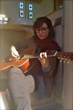 Allison Scagliotti provides some music on break in her trailer.