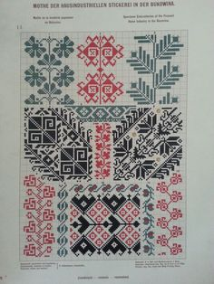 Patterns from Bukowina Cross Stitch Geometric, Cross Stitch Borders, Cross Stitch Charts, Cross Stitch Patterns, Folk Embroidery, Cross Stitch Embroidery, Embroidery Patterns, Knitting Charts, Knitting Patterns