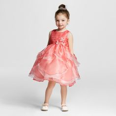 7cd710b9899 Young Hearts Toddler Girls  Coral Petal A Line Dress - Coral   Target Girls  Rompers