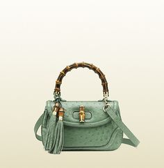 Gucci New Bamboo Ostrich Top Handle Bag in Light Green
