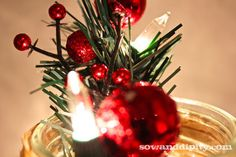 frosted illum mason aries, crafts, mason jars, seasonal holiday d cor, Mini Lights and battery operated tea lights were used