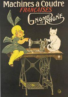 Vintage Machines a Coudre Wrapped Canvas Art Cat Machines, Antique Sewing Machines, Vintage Sewing Patterns, Poster Retro, Vintage Posters, Vintage Labels, Vintage Cards, Couture Vintage, Sewing Art