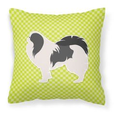 Japanese Chin Checkerboard Green Fabric Decorative Pillow BB3837PW1414
