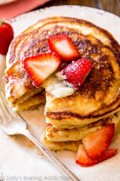 DELICIOUS Strawberry Buttermilk Pancakes-- serve with my homemade honey butter!