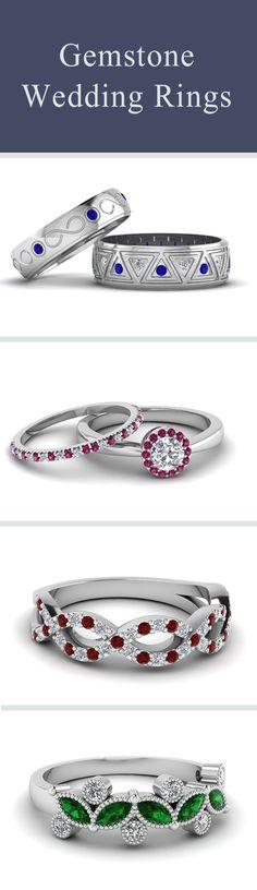 Coloful Gemstone Wedding Rings