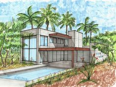 Exclusive 4 Bed Modern House Plan with Spacious Outdoor Living - thumb - 02 Interior Architecture Drawing, Architecture Drawing Sketchbooks, Architecture Concept Drawings, Architecture Design, House Design Drawing, House Drawing, Urban Design Concept, House Sketch, Outdoor Living