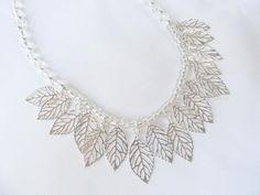 Silver Bib Necklace OOAK Clear Crystals by RitzyandGlitzy on Etsy, $39.00