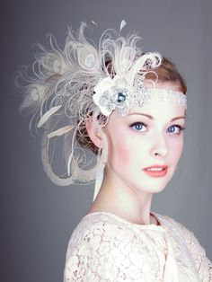 Ivory Peacock Feather Flapper Headband : Bridal : Deanna DiBene Millinery