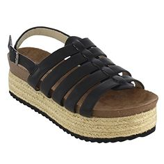 ac0109746a Nature Breeze Women s Platform Wedge Heel Espadrilles Sling Back Sandals