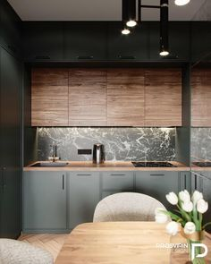 Toronto kitchen design solutions tailored to match your ideas. Custom made to fit your space perfectly. Kitchen Room Design, Kitchen Dinning, Kitchen Cabinet Design, Living Room Kitchen, Home Decor Kitchen, Kitchen Furniture, Home Kitchens, Dining Area, Green Kitchen Interior
