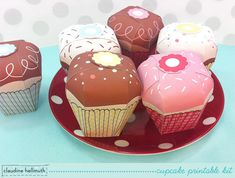 cupcake favor box kit -  gift boxes, party favor boxes, paper toy - printable PDF - INSTANT download