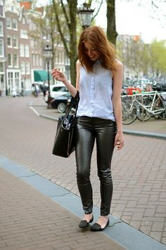 H Blouse, H Shiny Pants, Forever 21 Flats, Romwe Bag