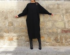 Nero Maxi dress vestito Midi autunno di cherryblossomsdress
