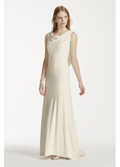 Gorgeous Back and under $200!   Jersey Sheath Gown with Pearl and Chain Open Back 231M70190