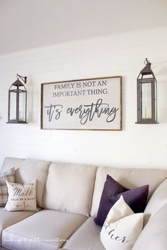 One Room Challenge {Week Six}: Farmhouse Style Family Room Reveal . One Room Challenge {Week Six}: Farmhouse Style Family Room Reveal living room wall decor - Living Room Decoration Living Room Remodel, My Living Room, Living Room Wall Ideas, Family Wall Decor, Living Room Picture Ideas, Small Living, Family Room Walls, Pictures For Living Room, Modern Living