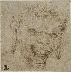 늘어진 귀의 사티로스 얼굴  by 레오나르도 다빈치 in 루브르 박물관