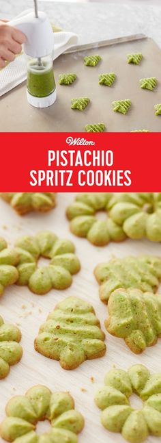Pistachio Spritz Cookies - Learn how to make delicious Pistachio Spritz Cookies that are perfect for your holiday cookie swap, parties, or as a sweet way to end your Christmas meal. Recipe makes about 10 dozen spritz cookies. (yum food how to make) Spritz Cookie Recipe, Spritz Cookies, Holiday Cookies, Shortbread Cookies, Cookie Press, Cookie Swap, Baking Recipes, Cookie Recipes, Dessert Recipes