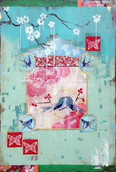 """Kathe Fraga paintings, inspired by vintage Paris and Chinoserie ancienne: """"Champagne and Limoges"""" 24x36 on frescoed canvas. www.kathefraga.com"""