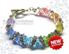 Swarovski Crystal Bracelet - Single row bracelet with silver button clasp/toggle clasp.  It is 6mm wide. If you like this bracelet in another color/size please contact me. Custom made are welcome.  I have many items for the Best Beautiful Handmade Beadworks. Please come look! Thank you ♥