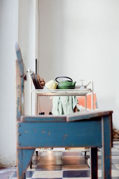 Vintage blue chair in the home of Frederic Hooft, as seen on Coffeeklatch, the creative chitchat: http://coffeeklatch.be/en/interview/2012-04/22/frederic-hooft