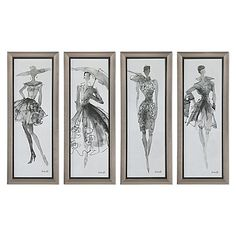 This elegant and fun set of 4 Fashion Sketchbook pieces from Uttermost feature black-and-white high fashion silhouettes in watercolor/sketch style. The art is complemented by champagne silver frames with distressed black trim for a vintage touch.