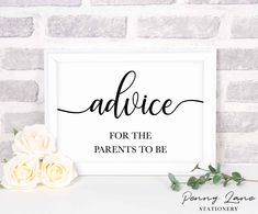 Classic Baby Shower Advice for the Parents to Be Table Sign