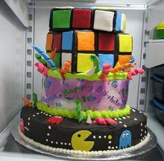 80's theme Sweet 16 cake