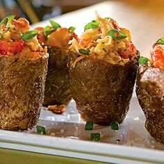 twice baked crawfish potatoes....probably won't use crawfish, but i could see sausage and crab possibly...