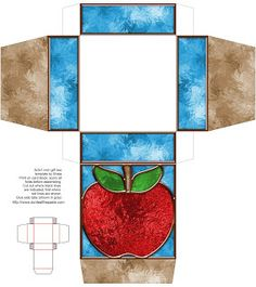 Printable stained glass effect gift box #apple #back2schoolcrafts #paper #printable #fairytales