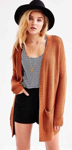 burnt orange long cardigan
