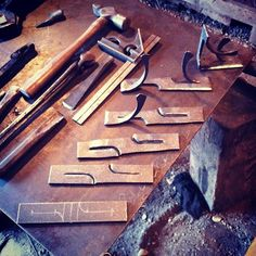 Progression forging of the shelf bracket posted earlier. Along side the tools used.