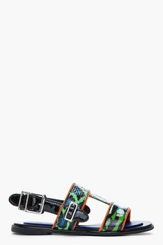 Kenzo Green And Blue Animal Print Patent Leather Tao Sandals