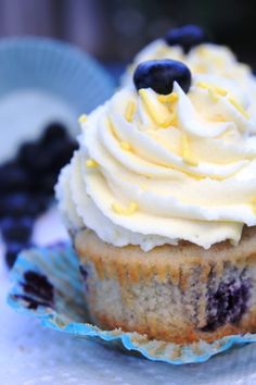 Lemon curd filled blueberry cupcakes with lemon mascarpone frosting