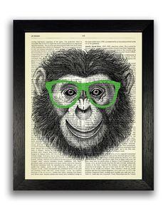 Cheeky Monkey in Green Geeky Glasses Art Print, Monkey Dictionary Art, Kids Bedroom Decor, Nursery Wall Art Decal, Nursery Animals Print Art Hipster Decor, Vision Art, Dictionary Art, Eye Art, Animal Nursery, Nursery Wall Art, Decoration, Vintage Prints, Original Art