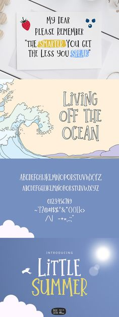 Little Summer Cute Font Summer Font, English Characters, Cute Fonts, Quotes, Books, Cool Fonts, Quotations, Libros, Book