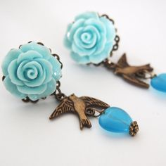 Earrings Blue Bird Lovers-Dangle Studs-Love Bird Posts-Fashion Jewelry-Handmade Accessory-Rose Earrings-Something Blue-Valentine's Day Gift by glamasaurus